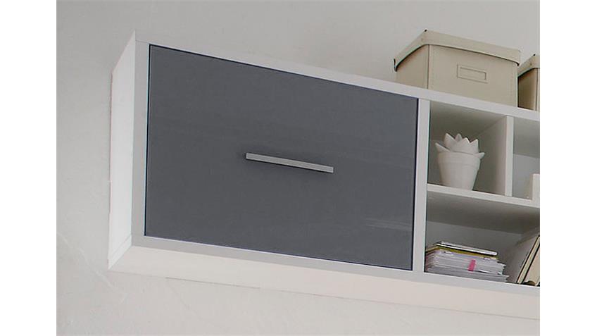 Hängeregal COLORI weiß und Glas grau mit 4 Fächern