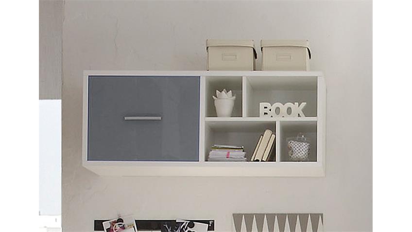 h ngeregal colori wei und glas grau mit 4 f chern. Black Bedroom Furniture Sets. Home Design Ideas