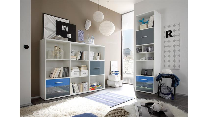 Regal breit COLORI weiß und Glas blau grau mit 7 Fächern