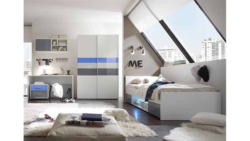 jugendzimmer set 2 colori in wei und glas blau grau. Black Bedroom Furniture Sets. Home Design Ideas
