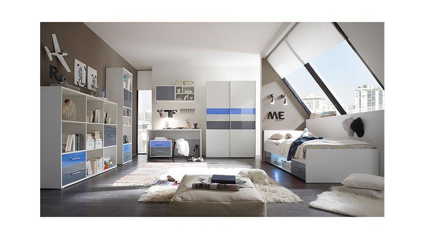 Jugendzimmer Set 2 COLORI in weiß und Glas blau grau