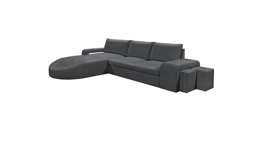 Ecksofa CANNES Wohnlandschaft Sofa dunkel grau inkl. Hocker