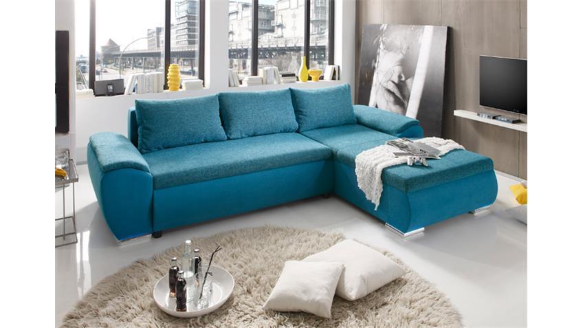 Ecksofa GAME Wohnlandschaft Sofa in petrol blau mit Funktion