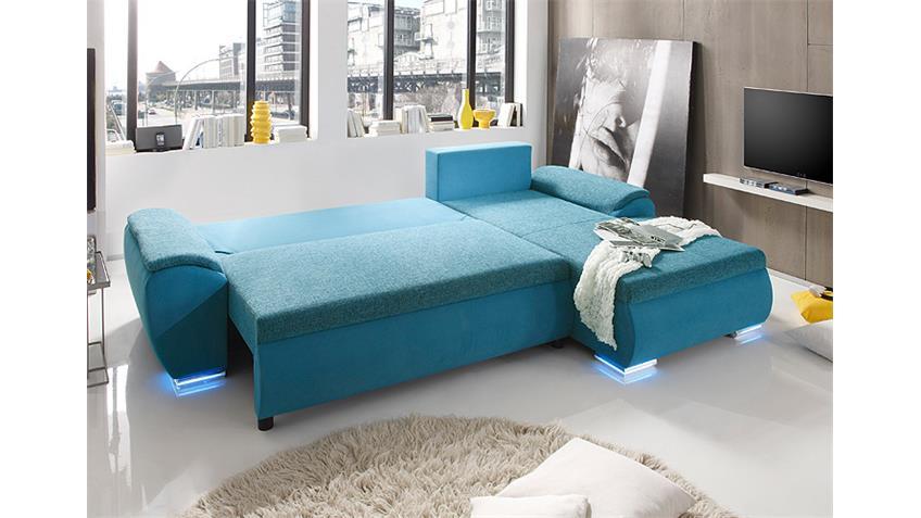 wohnzimmer petrol blau:Ecksofa GAME in petrol inkl. RGB-Beleuchtung Schlaffunktion und
