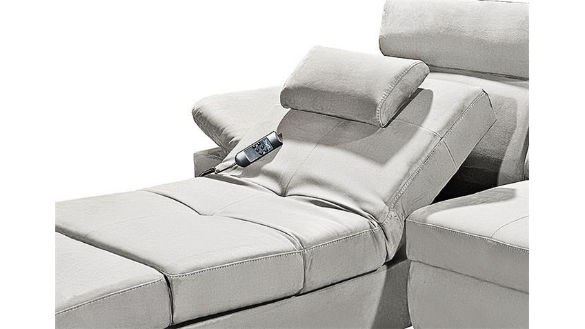 Ecksofa NAPOLI Sofa Wohnlandschaft silber grau Relaxfunktion
