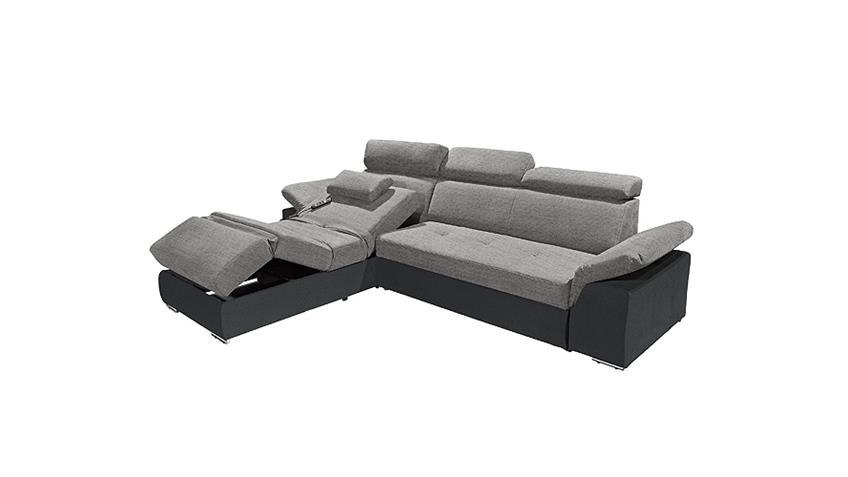Ecksofa NAPOLI Sofa in schwarz und anthrazit Relaxfunktion