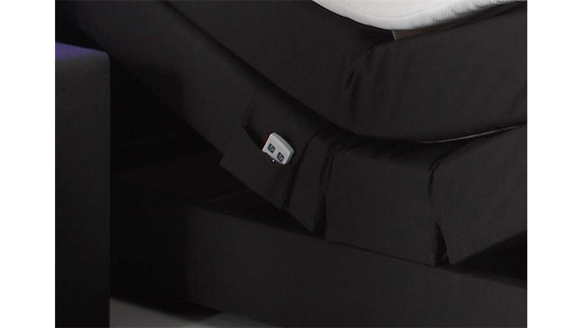 Boxspringbett NEBRASKA schwarz mit Motor LED und Topper 180