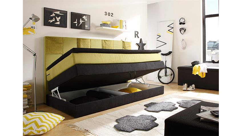 Boxspringbett KID POKET Kinderbett schwarz grün-gelb Topper