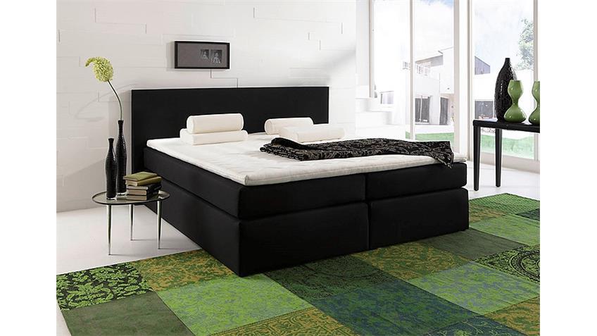 Boxspringbett SANTA BARBARA Bett in schwarz inkl. Topper 200