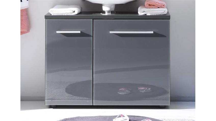 3-tlg. Badezimmer-Set GREY 2 grau glänzend mit LED-Beleuchtung