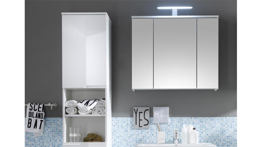 Badezimmerset SPICE 5-tlg. in weiß Hochglanz inkl. LED