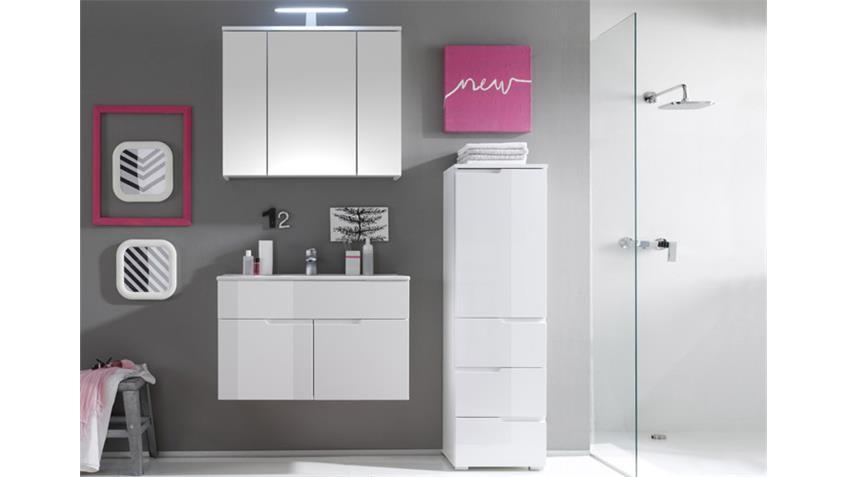 Waschtisch SPICE Badezimmer Badmöbel weiß Hochglanz Becken