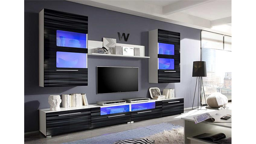 wohnwand corner sahara schwarz 3d folie wei mit led. Black Bedroom Furniture Sets. Home Design Ideas