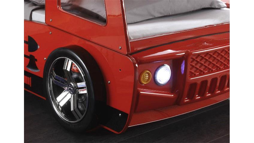 Feuerwehrbett SPARK rot Glanzlack mit Beleuchtung 90x200