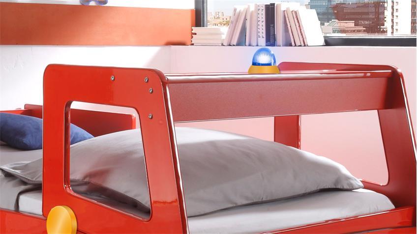 Feuerwehr Kinderbett Spark in Rot lackiert mit Beleuchtung