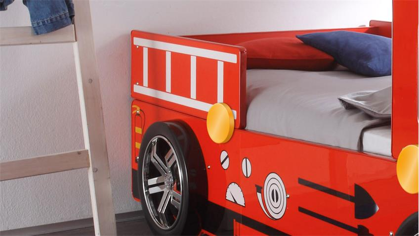 Feuerwehrbett Spark MDF rot Lack inkl Beleuchtung