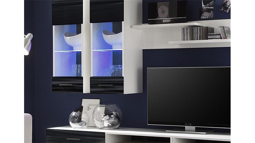 Wohnwand ATTAC 4  Sahara schwarz 3D Folie weiß mit LED