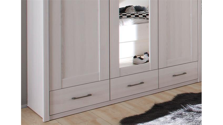 Kleiderschrank Luca für Jugendzimmer in Pinie weiß mit Spiegel