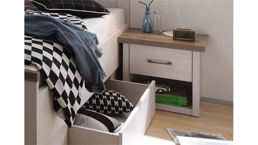 Nachtkommode Jugendzimmer LUCA Pinie weiß und Trüffel