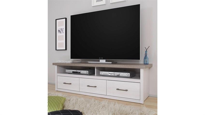 TV-Board Jugendzimmer LUCA Pinie weiß und Trüffel