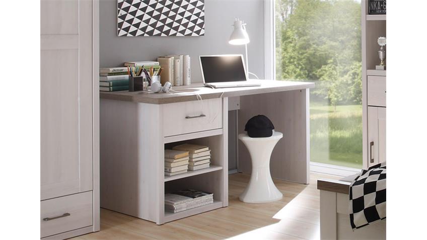 Schreibtisch Jugendzimmer LUCA Pinie weiß und Trüffel