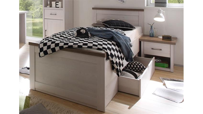 Jugendzimmer LUCA Komplettset 1 Pinie weiß und Trüffel 5-teilig