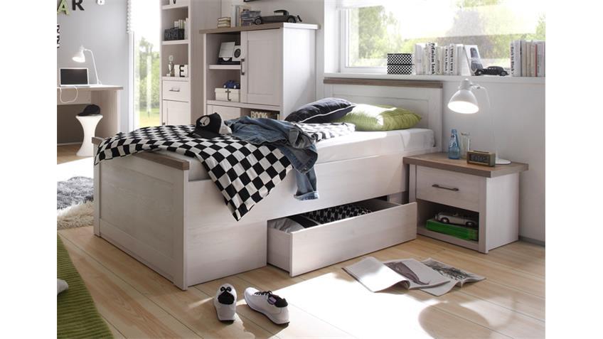 Jugendbett Set Luca Bett mit Nachtkommode in Pinie Weiß