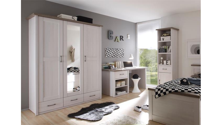 Jugendzimmer LUCA Komplettset 2 Pinie weiß und Trüffel 7-teilig
