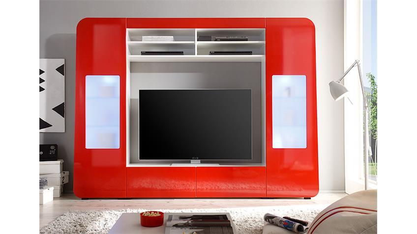 Mediawand KINO 1 Wohnwand rot Hochglanz TV bis 60 Zoll