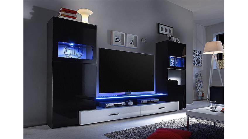 Wohnwand CAVE Anbauwand schwarz Hochglanz weiß mit LED