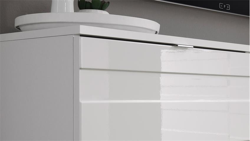 Kommode 2 RELIEF Sideboard in weiß Hochglanz Reliefoptik