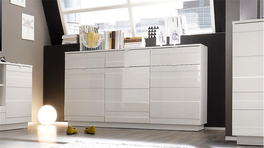 sideboard in wei hochglanz kommode reliefoptik 3 t rig. Black Bedroom Furniture Sets. Home Design Ideas