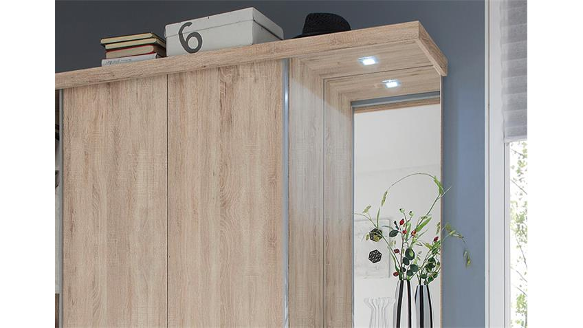 Kompaktgarderobe SWING Garderobe Sonoma Eiche weiß mit LED
