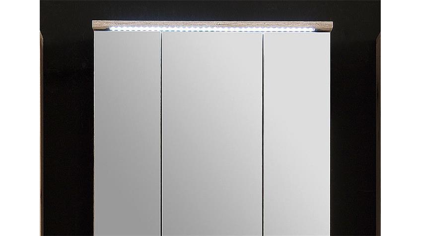 Spiegelschrank LUCAS Badezimmerschrank Sandeiche inkl. LED