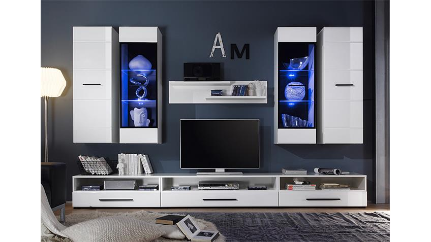 Wohnwand ATTENZIONE Anbauwand weiß Hochglanz mit LED