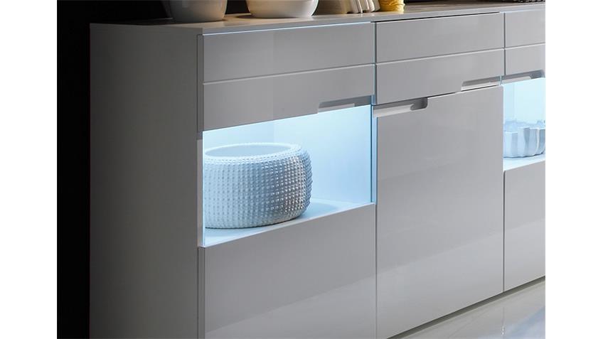 Sideboard SPICE Kommode Anrichte in weiß Hochglanz inkl. LED
