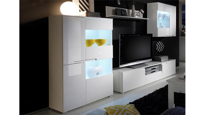 Wohwand SPICE Anbauwand Wohnzimmer weiß Hochglanz inkl. LED