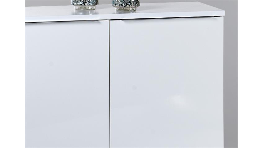 Kommode 1 SWAN Sideboard Anrichte in weiß Hochglanz Chrom