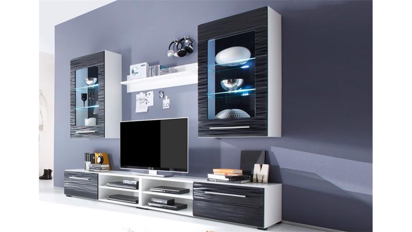 Wohnwand 2 SAHARA in schwarz und weiß mit 3D-Folie und LED