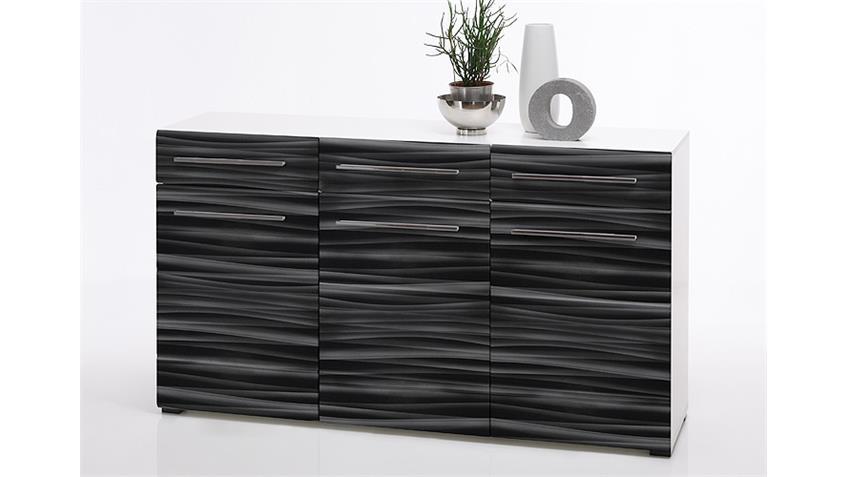 Sideboard SAHARA Kommode in schwarz und weiß mit 3D-Folie