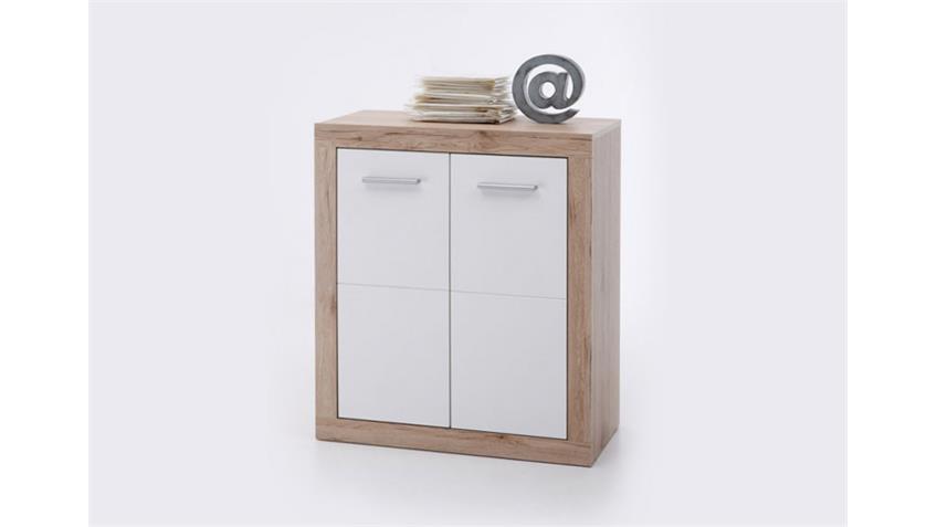 Kommode 1 CAN CAN Sideboard Schrank San Remo Eiche und weiß