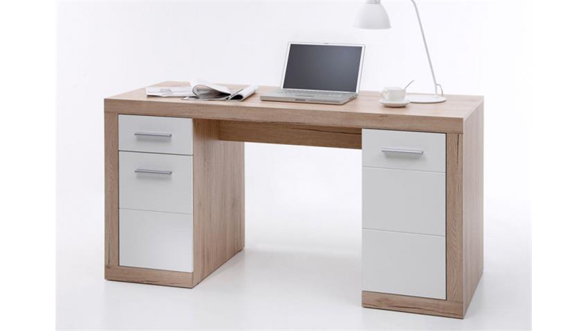 Schreibtisch 2 CAN CAN Computertisch in San Remo Eiche und weiß