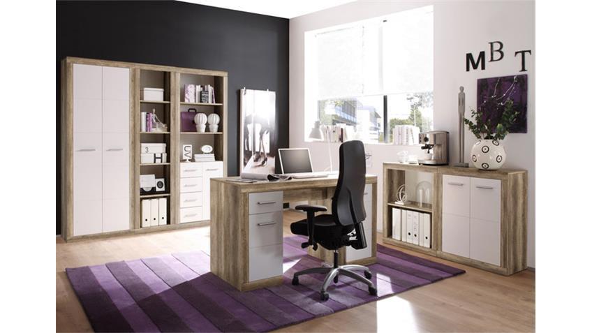 Schreibtisch 1 can can computertisch in monument oak und wei for Computertisch ecke
