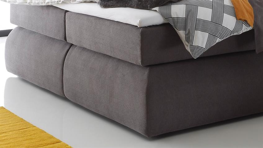 Boxspringbett MADISON 3 Microvelour schlamm Visco-Topper