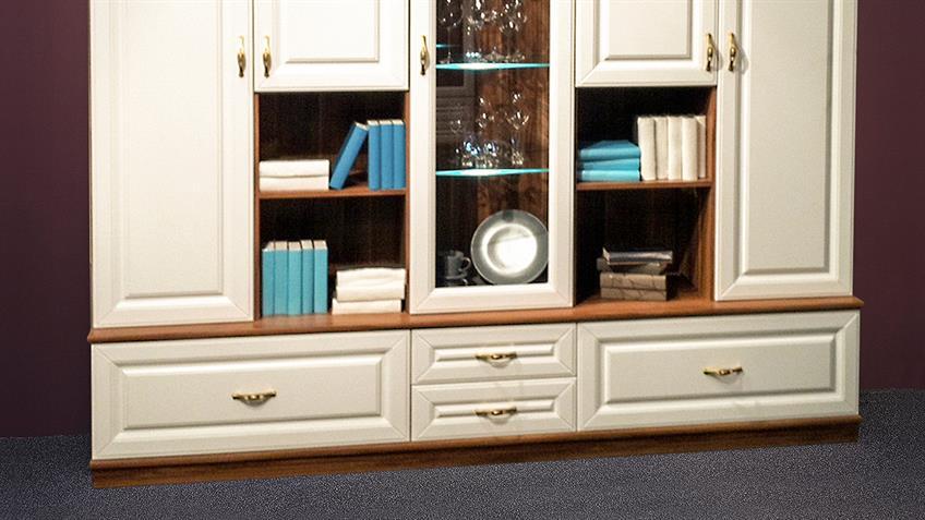 Wohnwand ELEGANT Weiß und Walnuss inkl. LED Beleuchtung