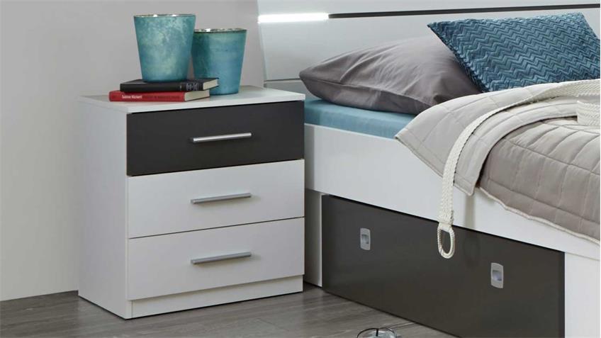 Bettanlage MARS Bett Nachtkommoden in weiß lava Kopfteil mit LED
