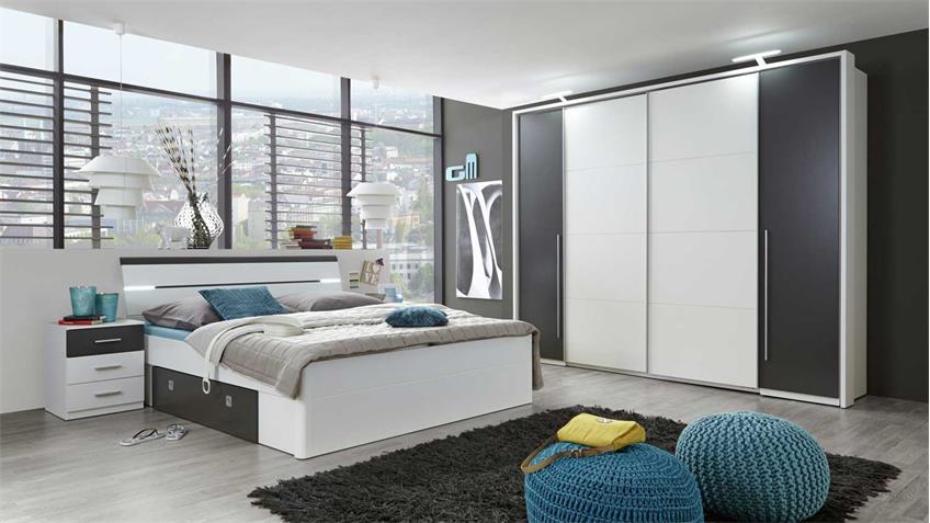 Bettanlage MARS Bett weiß lava Kopfteil mit LED 180x200