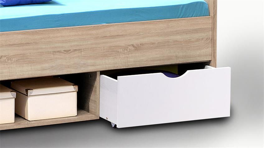 Bett Nemo Kinderbett in Sonoma Eiche mit Schubkästen weiß