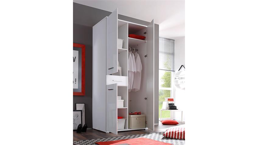 Kleiderschrank FERRUM Schrank Hochglanz weiß 90 cm