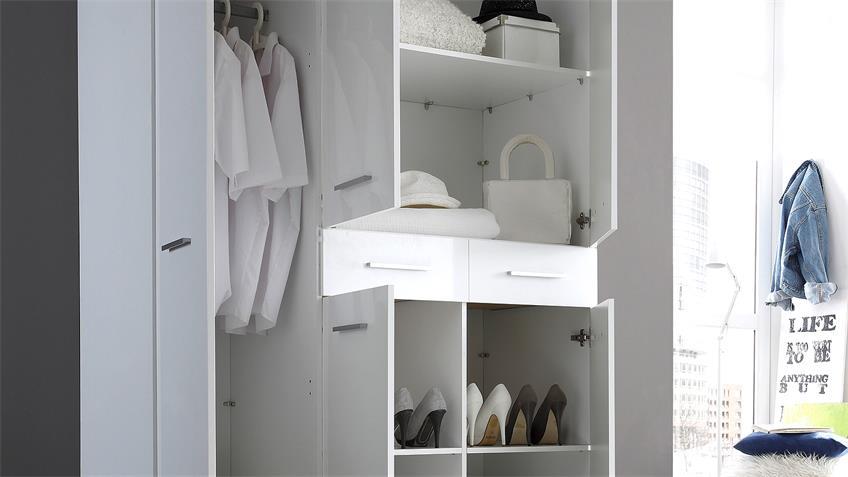 Kleiderschrank FERRUM Schrank Hochglanz weiß 135 cm